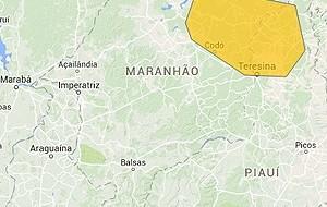 Zona de alerta para chuva forte no Maranhão (Foto: Reprodução/CPTEC/Inpe)